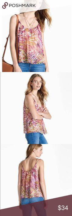 Lucky Brand Top Size M New with Tags Details  Tropical palms feel soft and serene on our airy double strap tank.  Length: 19.75 inches Fabric   100% VISCOSE Lucky Brand Tops Blouses