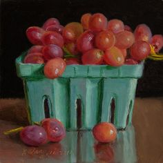 Grapes in a Blue Container by Youqing Wang
