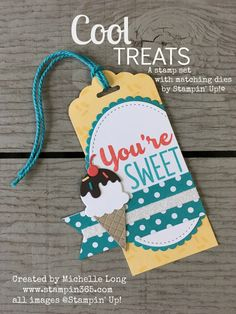 Hello, friends, how are you today? The 2017 Stampin' Up! Occasions catalog has so many fun new bundles. One of my favorites is the Cool treats stamps set and matching dies. These adorable ice… Ice Ice Baby, Card Tags, Gift Tags, Birthday Tags, Stamping Up Cards, Paper Tags, Christmas Tag, Up Girl, Homemade Cards
