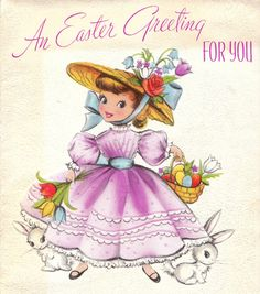 Vintage 1957 An Easter Greeting For You Greetings Card (B8a). via Etsy.