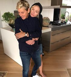 Ellen DeGeneres and Portia de Rossi Ellen Degeneres And Portia, Ellen And Portia, Inside Celebrity Homes, Celebrity Houses, What Is True Love, Portia De Rossi, The Ellen Show, Girl Couple, Cat Noir