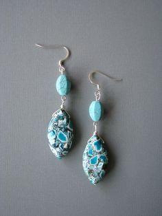Beaded Earrings  Blue Long Dangle Stone Earrings by zatanah, $17.00