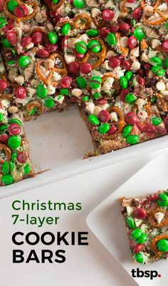 Christmas Cookie Bars This holiday twist on gooey seven-layer bars starts with a Christmas cookie crust and packs plenty of chocolate flavor—three kinds of chocolate, to be exact. Pretzels add just the right amount of salty crunch. Christmas Potluck, Holiday Snacks, Christmas Snacks, Christmas Cooking, Holiday Recipes, Christmas Recipes, Christmas Parties, Christmas Christmas, Christmas Traditions