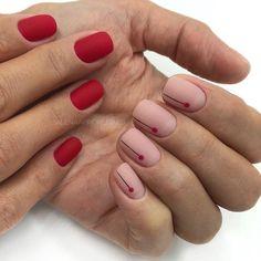 the stunning summer nail art designs for short nails 32 ~ thereds. Nail Design Glitter, Manicure Nail Designs, Nail Manicure, Minimalist Nails, Short Nail Designs, Nail Art Designs, Red Nails, Hair And Nails, Cute Nails