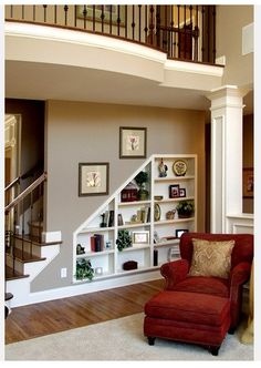 angled shelves make the most of under the stair space.