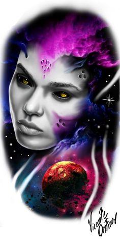 Colored Tattoo Design, Design Tattoo, Colour Tattoo, Mago Tattoo, Tattoo Studio, Surreal Tattoo, Girl Face Tattoo, Single Line Tattoo, Gothic Tattoo