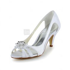 Satin Stiletto Heel Pumps Sandals with Rhinestone Wedding Shoes(More Colors) - USD $ 49.99