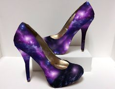 Galaxy Outer Space Nebula Decoupage High Heels