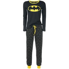 Can't go wrong with Batman in your closet, right? Get yourself this cool black pyjama with Batman logo. The large logo on the front of the longsleeve shirt shows everyone that you're into Batman. The pants also feature a Batman logo. The yellow drawstring and the yellow edge of the neckline are further nice little details.