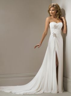 Fashion A-line Sweetheart Draped Chiffon Split Front Wedding Dress - Dolcedress.com