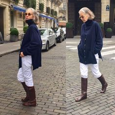 Carrying That white jean into winter with my Hermes riding boots and Crimson's long cashmere cardigan over a man's roll collar in the same navy blue. Mature Fashion, Fashion Over 50, Chic Outfits, Fashion Outfits, Womens Fashion, Outfits Mujer, Sixties Fashion, 50 Style, Advanced Style