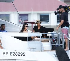 And action: The family are not just in St Barts for fun - they are busy filming reality sh...