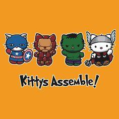Kittys Assemble! by yayzus Más Imprimibles GRATUITOS en  http://www.fiestuqueando.blogspot.com.es