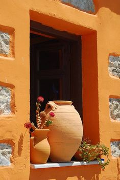 Window sill (Crete Island) GREECE / by davidmclaughlin Window Boxes, Window Sill, Crete Island Greece, Art Texture, Terracota, Doorway, Windows And Doors, Orange Color, Ramen