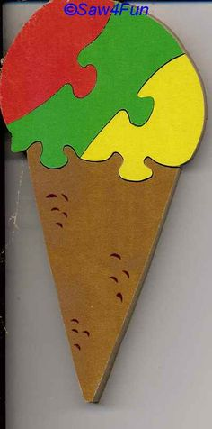 Ice Cream Cone Puzzle Scroll Saw Pattern Diy Home Crafts, Wood Crafts, Scroll Saw Patterns Free, Shape Puzzles, Wood Toys, Woodworking Tips, Toddler Activities, Shapes, Ice Cream