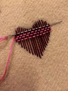 Ribbon Embroidery For Beginners Surface darning - nice illstration. I might switch to a blunt tapestry needle for the back-and-forth weaving, after laying down the weft with a pointed needle. Hand Embroidery Stitches, Ribbon Embroidery, Cross Stitch Embroidery, Embroidery Patterns, Sewing Patterns, Embroidery Techniques, Embroidery Hearts, Sashiko Embroidery, Embroidery Fashion
