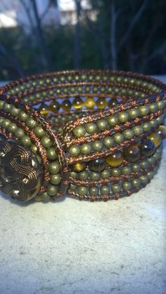 Eye of tiger and bronze bead  triple bracelet