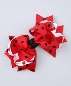 Red Ladybug Sweetie Pie Bow Clip by Bubbly Bows #zulily #zulilyfinds
