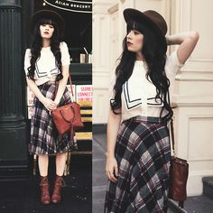 Hat, Old Shirt, Vintage Plaid Skirt, Wolverine Boots, Coach Bag, Irrisistible Me Extensions