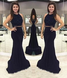 Blue Trumpet/Mermaid Sleeveless Natural Zipper Floor-Length Chiffon Prom Dresses 2017