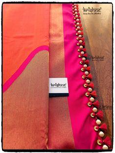 Designer Silk Saree handcrafted with beads tassel kuchu from Krishne Saree Tasse. Designer Silk Saree handcrafted with beads tassel kuchu from Krishne Saree Tassels Saree Tassels Designs, Saree Kuchu Designs, Silk Saree Blouse Designs, Fancy Blouse Designs, Blouse Neck Designs, Bridal Blouse Designs, Cutwork Saree, Silk Saree Kanchipuram, Designer Silk Sarees