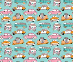 Vintage cars for girls illustration pattern fabric by littlesmilemakers on Spoonflower - custom fabric
