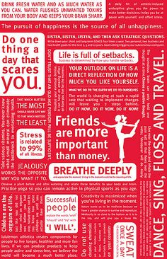 "Lululemon manifesto. ""Do one thing a day that scares you."" ""Dance, Sing, Floss and Travel."""