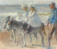 'Isaac' Lazarus Israels (Amsterdam 1865-1934 Den Haag) A donkey-ride on the beach of Scheveningen - Dutch Art Gallery Simonis and Buunk Ede, Netherlands.