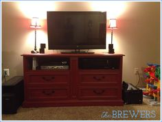 The Brewer Family Blog: Dresser to Entertainment Center Re-Do