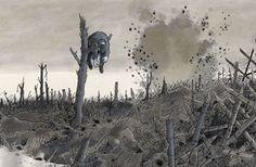 détail du fresque du musée de la Grande Guerre à Meaux (France), réalisée par Tardi