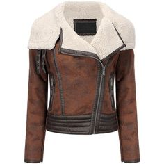 Yoins Biker Jacket in Shearling (3.990 RUB) ❤ liked on Polyvore featuring outerwear, jackets, coats, yoins, coats & jackets, brown, shearling biker jacket, moto jackets, shearling motorcycle jacket and brown biker jacket