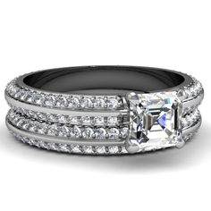3.60 Ct Asscher Cut FLAWLESS Diamond Knife Edge Engagement Wedding Rings Set GIA 14K White Gold