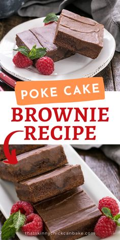 Poke Cake Brownie Recipe - These Poke Cake Brownies are topped with a rich fudgy frosting that infuses into holes made across the brownie surface, making a rich, extra decadent treat! Homemade Desserts, Fun Desserts, Delicious Desserts, Dessert Recipes, Bar Recipes, Dessert Ideas, Keto Recipes, Yummy Food, Cooking Chocolate