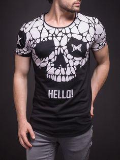 2Y Men Graphic Butterfly Skull Hello! T-Shirt - Black