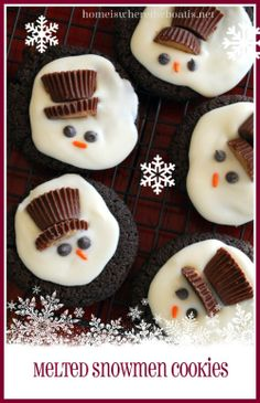 Melted Snowmen Cookies, Fun to make for winter months or on a snowy day. Recipe included for a chocolate shortbread cookie but you could use any cookie as a base to build the snowmen! http://homeiswheretheboatis.net/