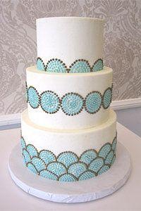 Vanilla Bake Shop - piped mint blue & taupe circular dot cake
