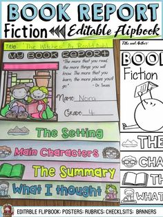Use this flipbook organizer to scaffold the structure of a fiction Book Report. The prompts for each of the key elements of the Report will help students write effectively and keep on track. Reading Resources, Teaching Reading, Teacher Resources, Reading Themes, Reading Skills, Teaching Ideas, Text Types, Learning Goals, Thing 1