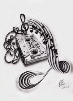 Tattoo Stencil and Pencil Drawings and Sketches | Music Cassette Design by ~ZenBenZen on deviantART