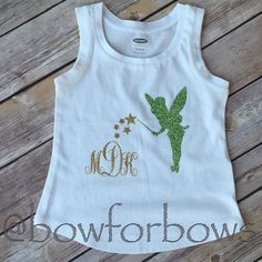 Girls Monogram Tinkerbell Tank Top Glitter by bowforbows on Etsy