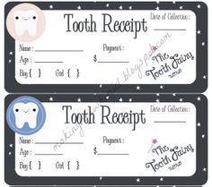 Printable Tooth Fairy receipt for boy or girl