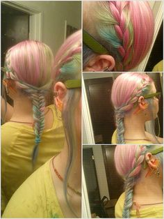 My new pastel hair braided. bubble gum pink, mint green, cotton candy blue, and lilac / lavender. =) French braid transition to fish tail braid.