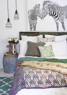 Beautiful eclectic, feminine styling in this bedroom. Gorgeous.