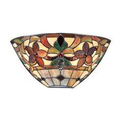 Quoizel TFKM8802VB Kami 2-Light Tiffany Wall Sconce, Vintage Bronze