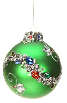 Mark Roberts Christmas Ornaments   King's Jewel Collection   Jeweled Ornaments   Wave Ornament   Green Ornaments   36-43990