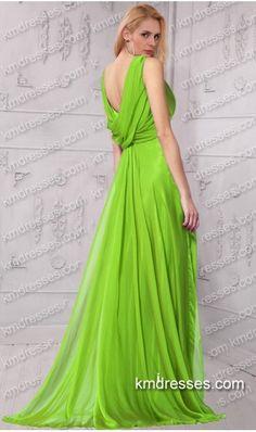 patterned beads embellished open back pleated shoulder floor length evening gown Green Dresses 003