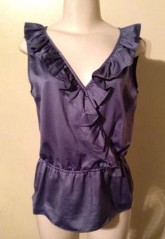 Womens Gray Attention Crossover Ruffle V-Neck Sleeveless Top Blouse Medium NWT $17.99 #ruffles #workwear #outonthetown
