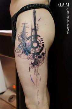 Graphic Tattoo Design On Leg #ink
