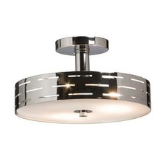 Seattle 3 Light Chrome Semi Flush in Drum Shade Semi-Flush Mts., style - Contemporary, by Artcraft, finish - Chrome, family - Seattle Semi Flush Ceiling Lights, Flush Mount Ceiling, Flush Mount Lighting, Home Lighting, Lighting Ideas, Lighting Direct, Wall Lights, Entryway Lighting, Dining Lighting