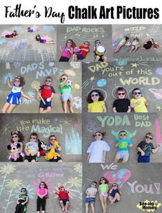Father's Day Chalk Art Pictures For Father's Day this year I decided to make a series of chalk art pictures with my kids. Being that I have a one in a half year old, three and … Fathers Day Pictures, Fathers Day Art, Fathers Day Photo, Fathers Day Crafts, Fathers Day Sayings, Fathers Day Ideas, Diy Father's Day Gifts, Father's Day Diy, Gifts For Dad