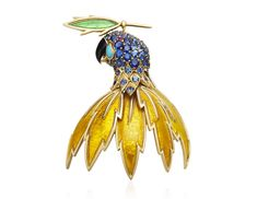 Tiffany & Co. Schlumberger Enamel And Gem Set Parrot Brooch